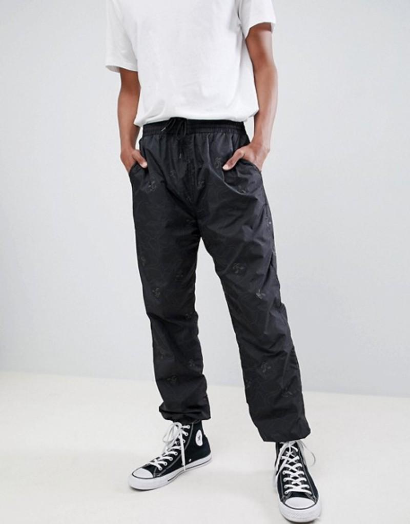リップンディップ メンズ カジュアルパンツ ボトムス RIPNDIP Nermal reflective camo track pant in black Black