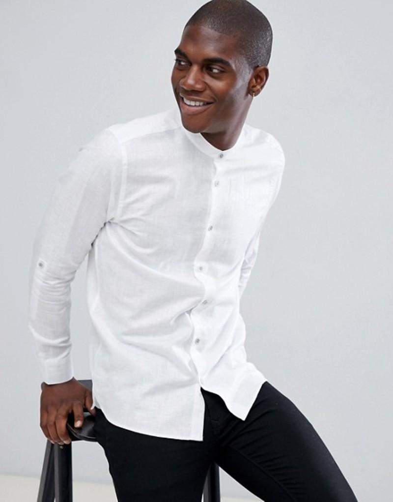 テッドベーカー メンズ シャツ トップス Ted Baker long sleeve grandad shirt in white linen White