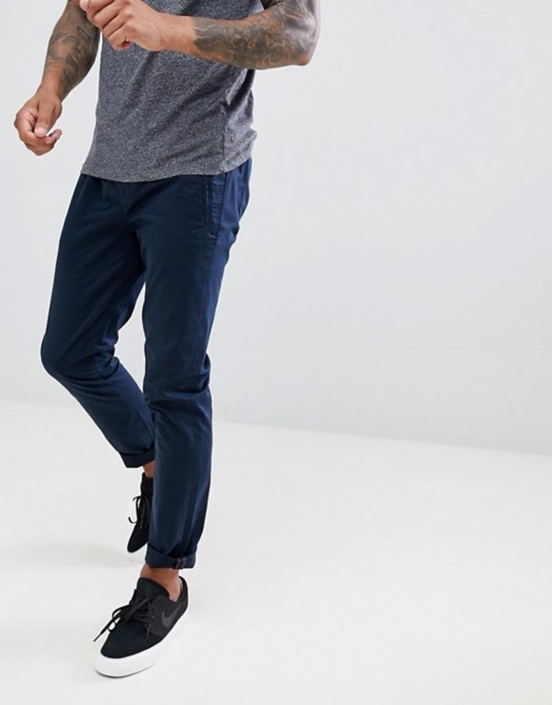 テッドベーカー メンズ カジュアルパンツ ボトムス Ted Baker slim trousers in blue peached cotton with drawstrings Navy