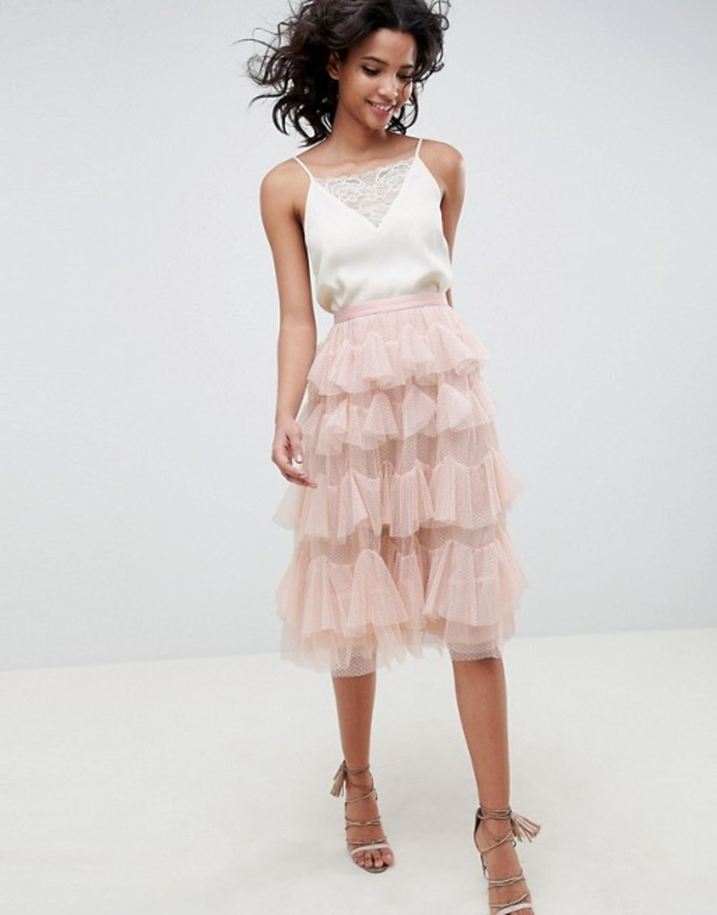 ニードルアンドスレッド レディース スカート ボトムス Needle & Thread tiered tulle midi skirt in rose Rose quartz