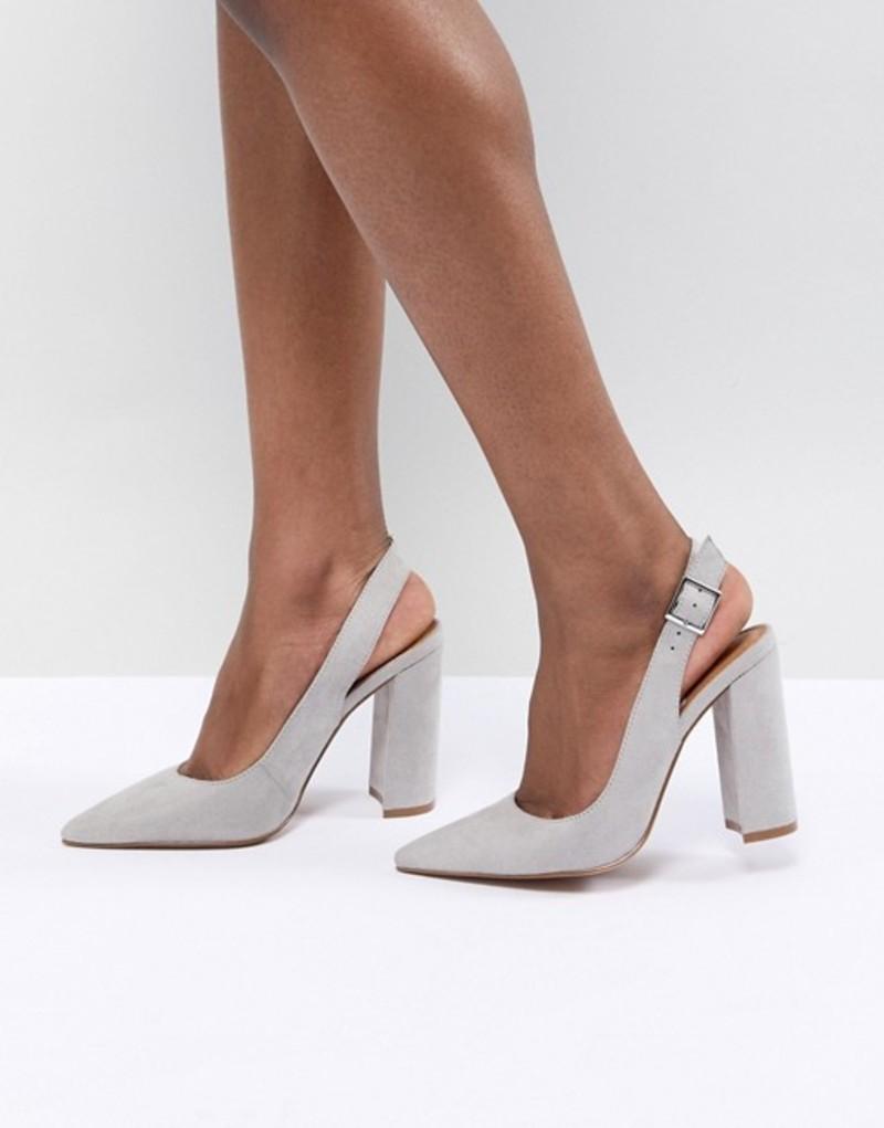 エイソス レディース ヒール シューズ ASOS DESIGN Penley Slingback High Heels Grey