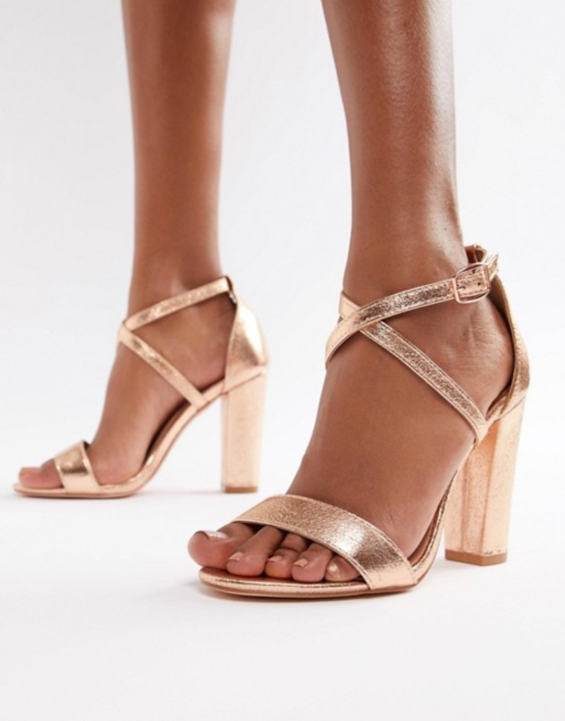 グラマラス レディース サンダル シューズ Glamorous Metallic Cross Strap Block Heel Sandals in Rose Gold Rose gold