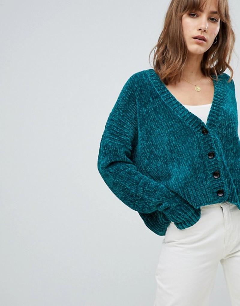 エイソス レディース カーディガン アウター ASOS DESIGN Cropped Cardigan In Chenille With Buttons Jade