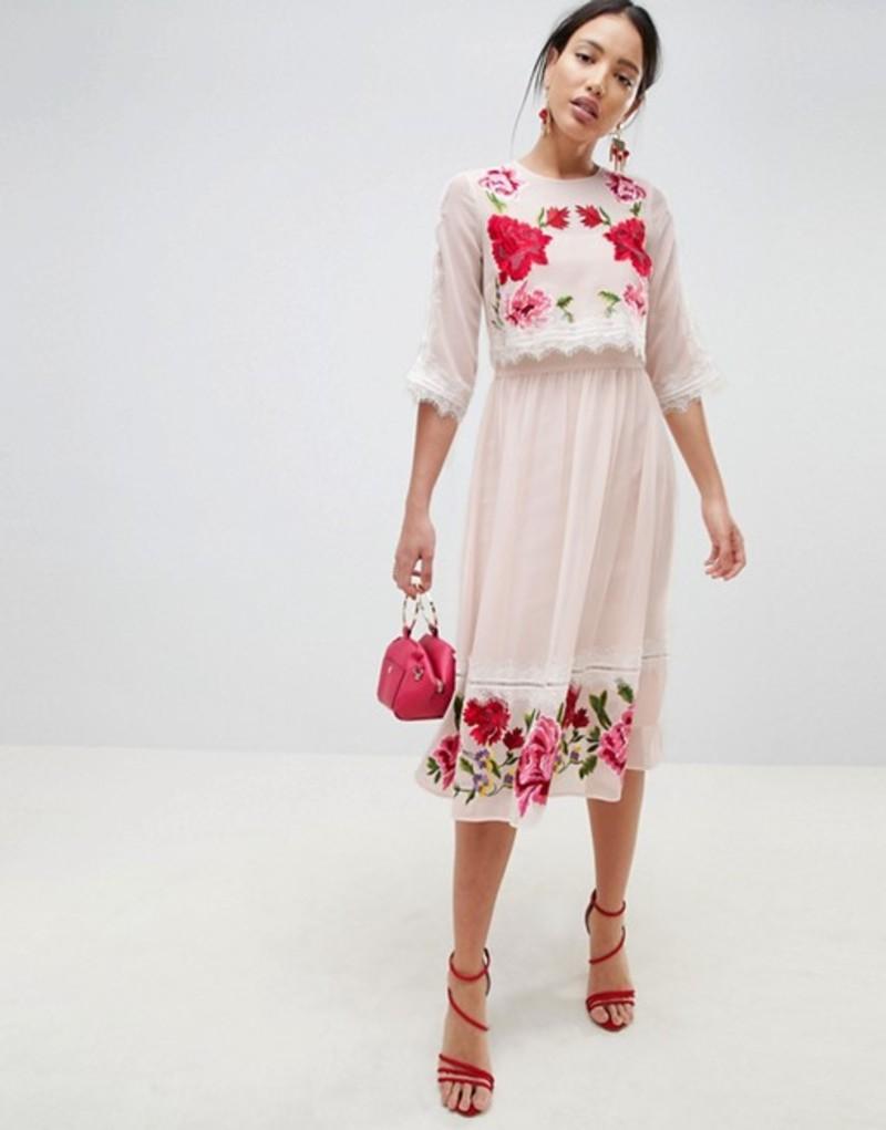 エイソス レディース ワンピース トップス ASOS DESIGN Double Layer Embroidered Dress Nude