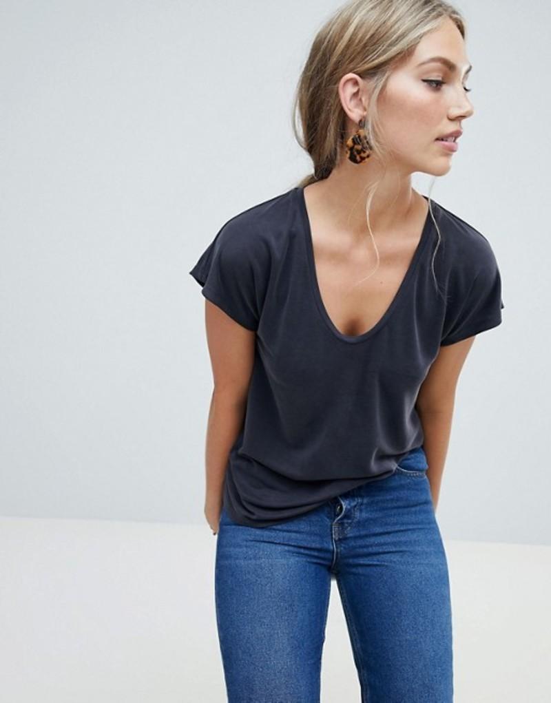 ウエアハウス レディース Tシャツ トップス Warehouse t-shirt with scoop t-shirt with neck Tシャツ in washed black Black, ソメイビューティー:7a6c8f29 --- rakuten-apps.jp