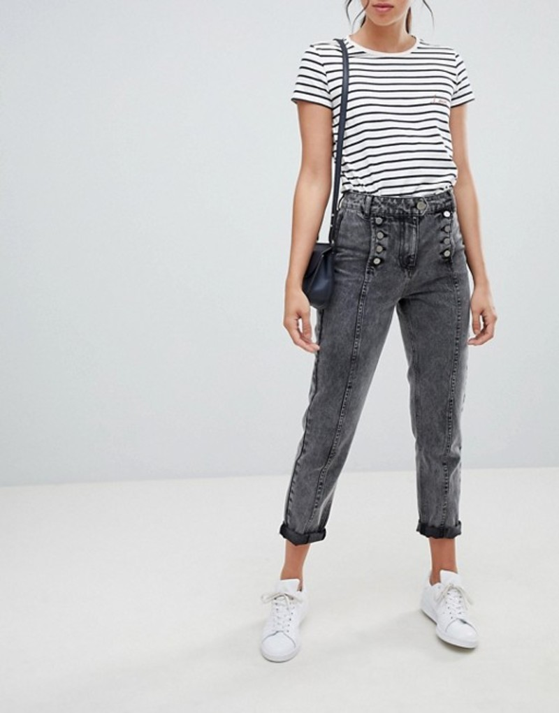 エイソス レディース デニムパンツ ボトムス ASOS DESIGN Ritson rigid mom jeans in washed black with matelot detail Washed black