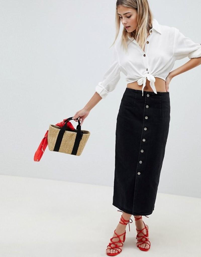 エイソス レディース スカート ボトムス ASOS DESIGN denim midi skirt with buttons in black Black