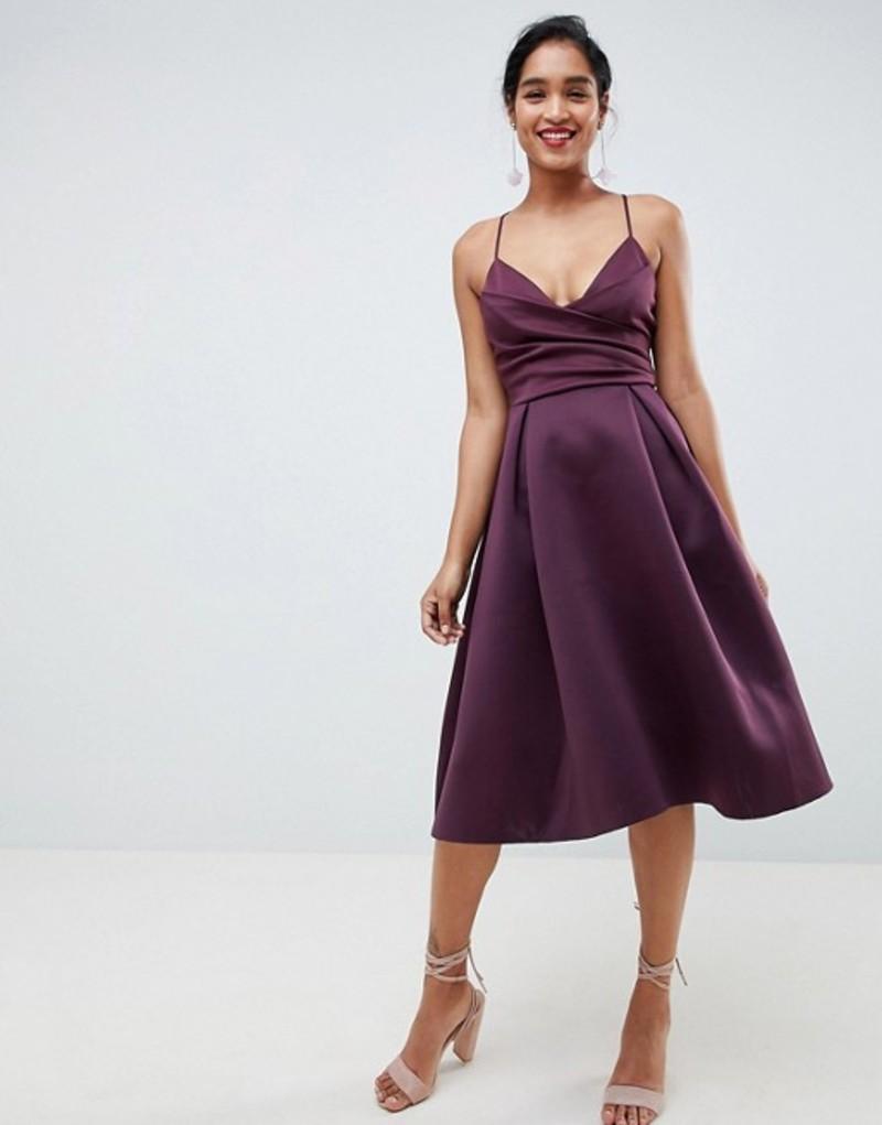エイソス レディース ワンピース トップス ASOS DESIGN Scuba Cami Prom Midi Dress Aubergine