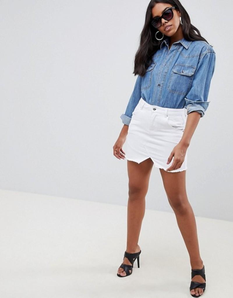 リキュールアンドポーカー レディース スカート ボトムス Liquor N Poker Raw Hem Denim Mini Skirt White