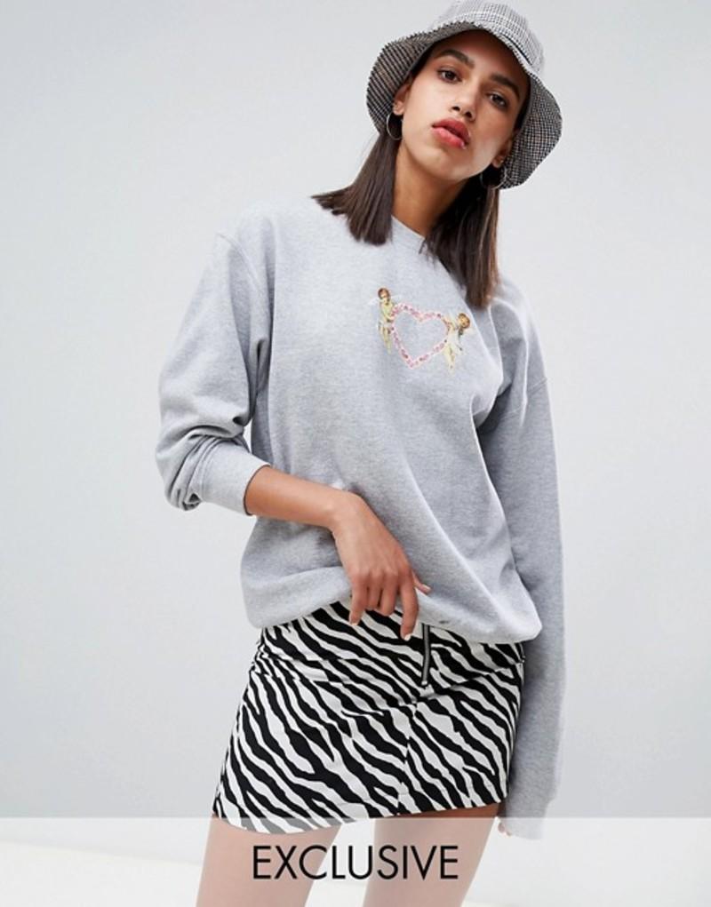 アドレセントクロージング レディース パーカー・スウェット アウター Adolescent clothing oversized sweatshirt with cherub graphic Grey
