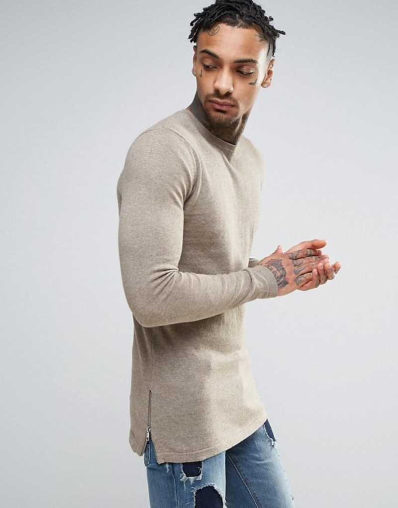 エイソス メンズ ニット・セーター アウター ASOS Muscle Fit Longline Sweater With Side Zips In Beige Faded taupe