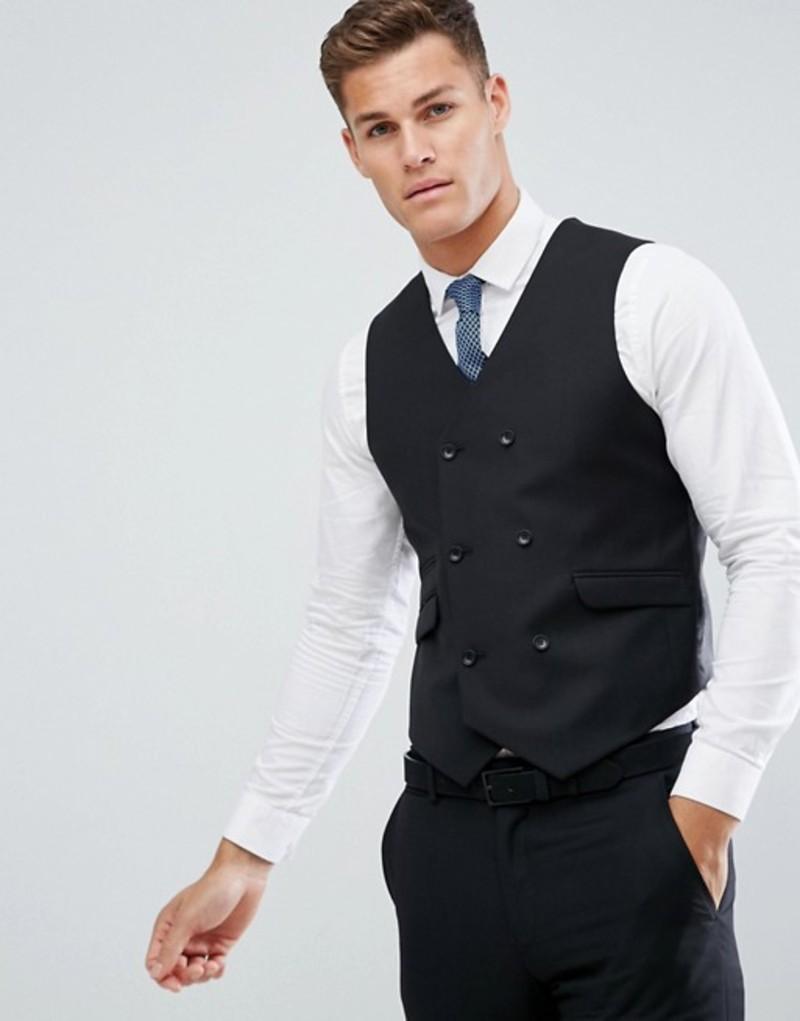 エイソス メンズ タンクトップ トップス ASOS Slim Suit Vest In Black 100% Wool Black