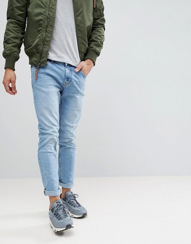 ベルシュカ メンズ デニムパンツ ボトムス Bershka Skinny Jeans In Light Blue Dela blue