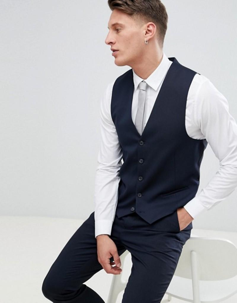 ニュールック メンズ タンクトップ トップス New Look Slim Fit Suit Vest In Navy Navy