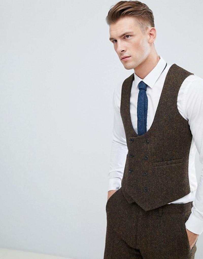 エイソス メンズ タンクトップ トップス ASOS DESIGN slim suit waistcoat in 100% wool Harris Tweed in brown herringbone Brown