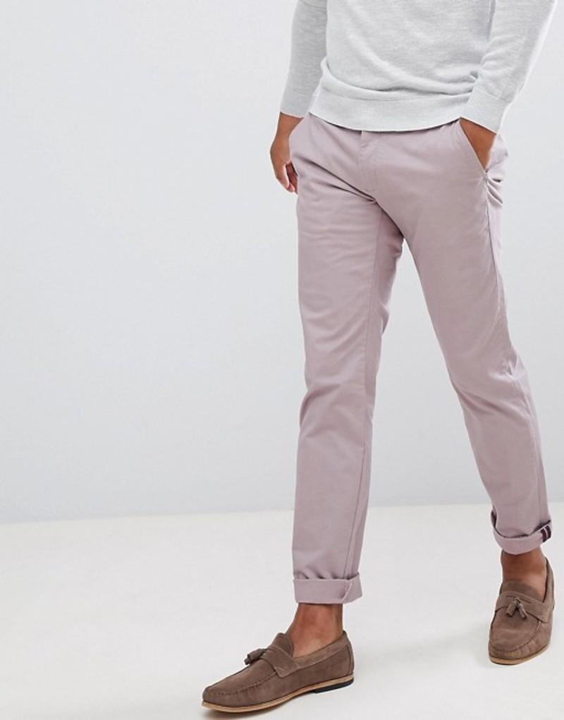テッドベーカー メンズ カジュアルパンツ ボトムス Ted Baker smart slim chinos in peached cotton Light pink