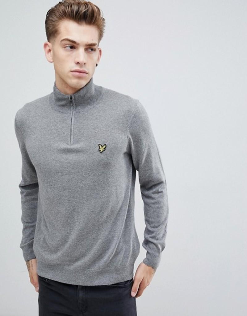 ライルアンドスコット メンズ ニット・セーター アウター Lyle & Scott 1/4 zip sweater Mid grey marl