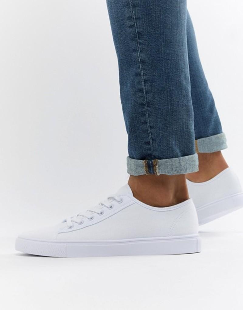 エイソス メンズ スニーカー シューズ ASOS DESIGN trainers in white canvas White