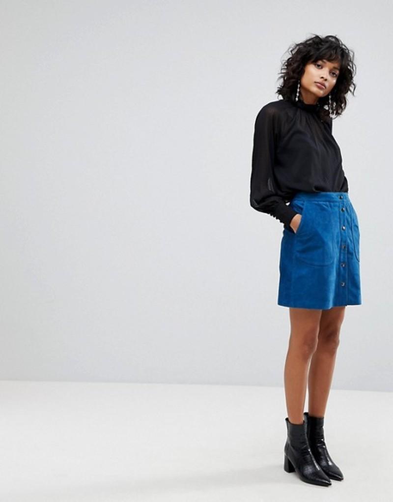 ワイエーエス レディース スカート ボトムス Y.A.S Suede Mini Skirt With Button Front Estate blue