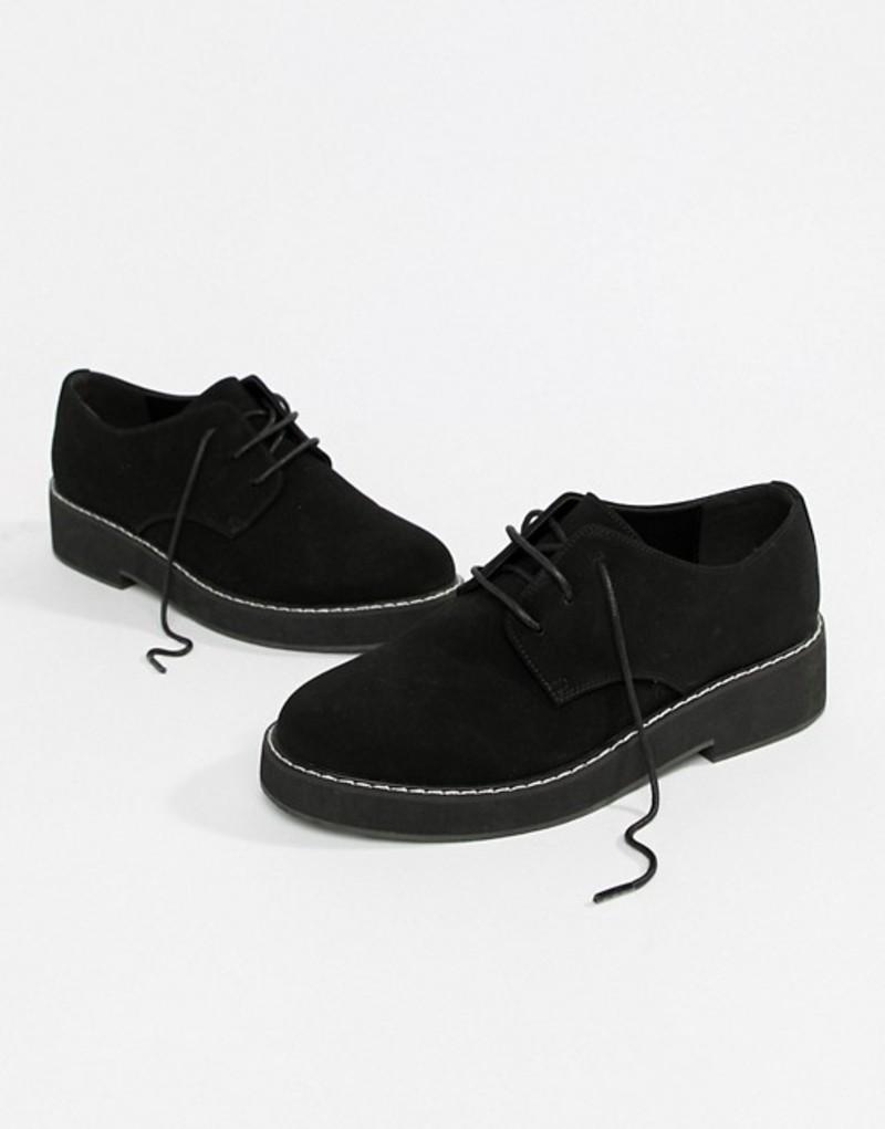 エイソス レディース パンプス シューズ ASOS DESIGN Minus chunky lace up flat shoes Black