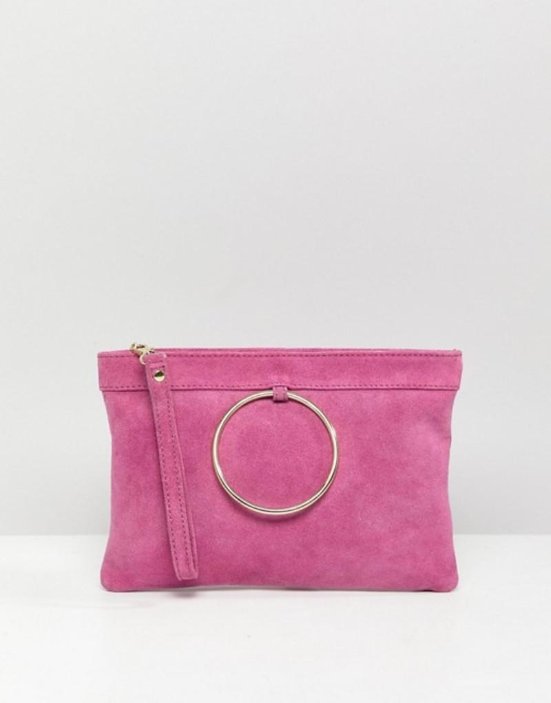 エイソス レディース クラッチバッグ バッグ ASOS DESIGN zip top suede clutch bag with ring detail Pink
