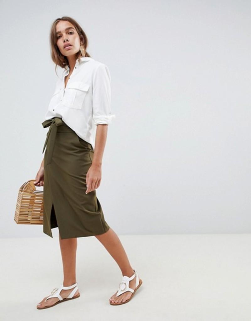 エイソス レディース スカート ボトムス ASOS DESIGN tailored pencil skirt with obi tie Khaki