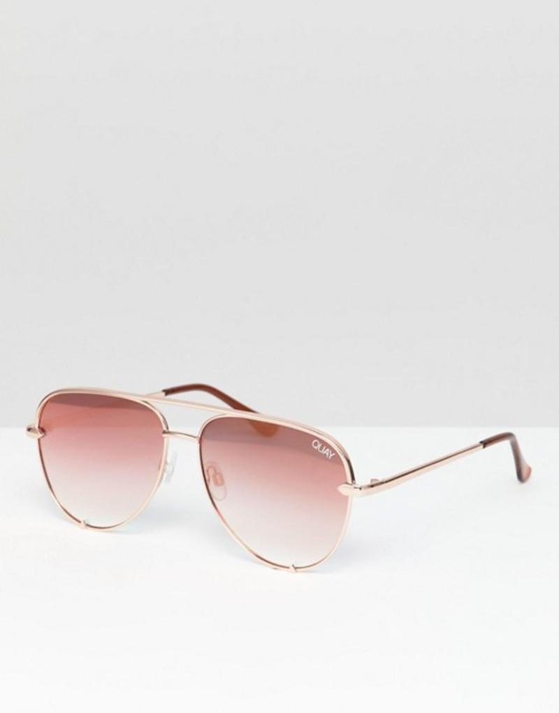 クアイオーストラリア メンズ サングラス・アイウェア アクセサリー Quay Australia X Desi High Key Mini aviator sunglasses Pink