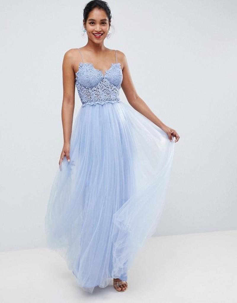 エイソス レディース ワンピース トップス ASOS DESIGN premium lace cami top tulle maxi dress Blue