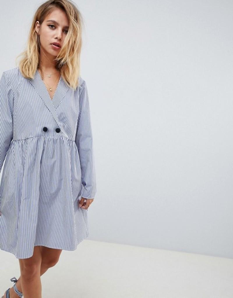 エイソス レディース ワンピース トップス ASOS DESIGN cotton smock mini dress in shirting stripe Multi