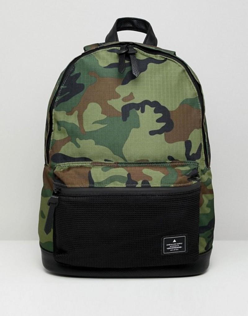 エイソス メンズ バックパック・リュックサック バッグ ASOS DESIGN backpack in khaki camo Khaki