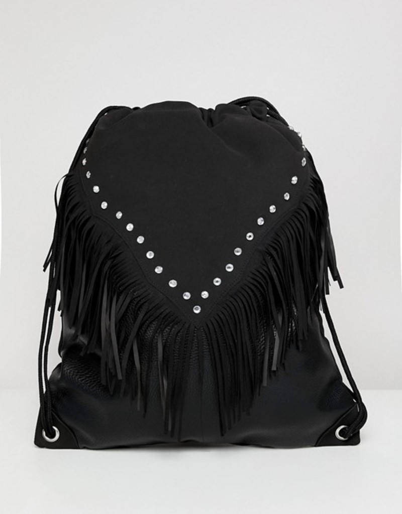 エイソス メンズ バックパック・リュックサック バッグ ASOS DESIGN festival drawstring backpack in black with geo-tribal and studs Black