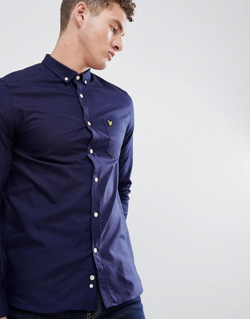 ライルアンドスコット メンズ シャツ トップス Lyle & Scott oxford shirt buttondown regular fit eagle logo in navy Navy