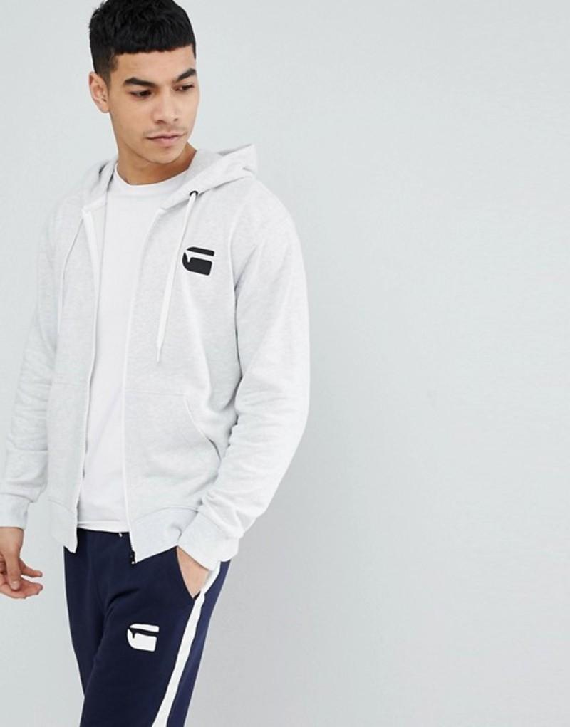 ジースター メンズ パーカー・スウェット アウター G-Star Zip Logo Hoodie Gray Grey