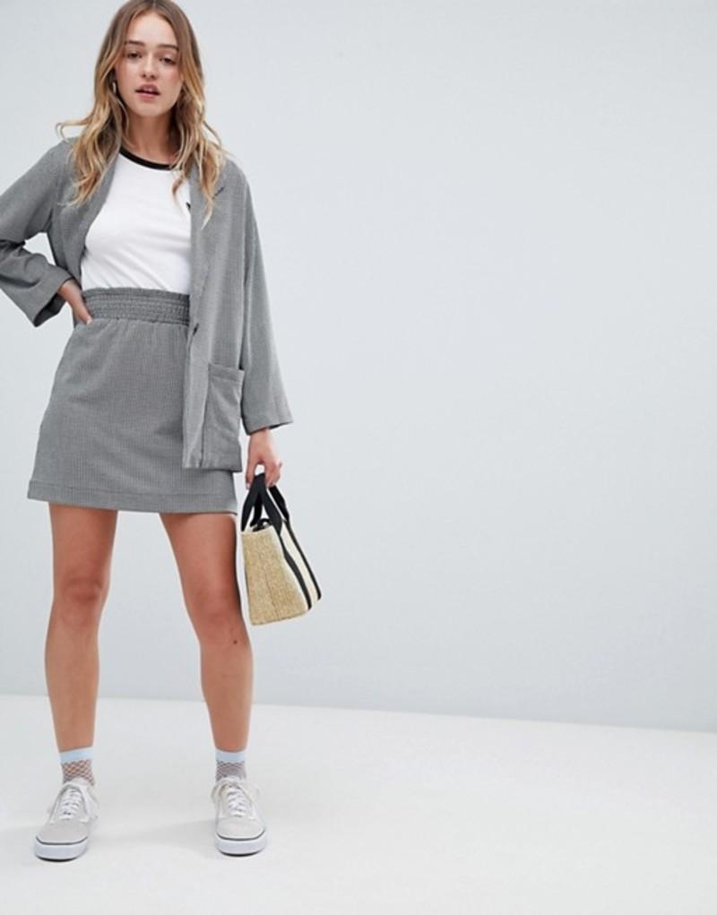 モンキ レディース スカート ボトムス Monki Check Mini Skirt Two-piece Black