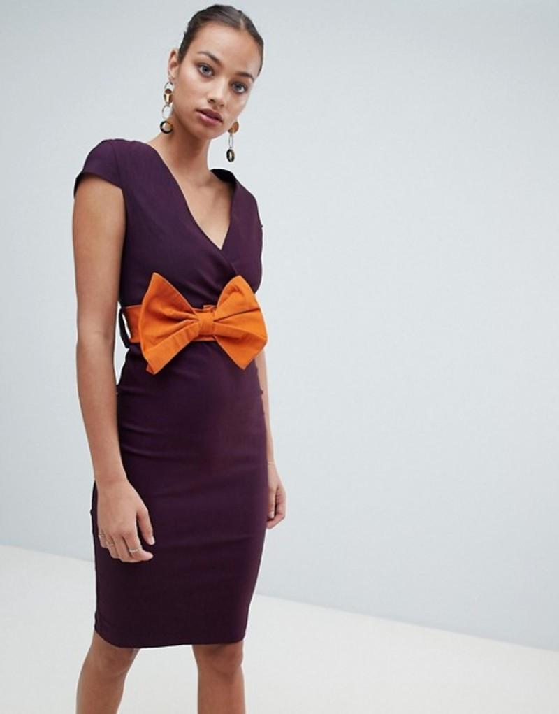 ベスパー レディース ワンピース トップス Vesper pencil midi dress with bow detail Purple
