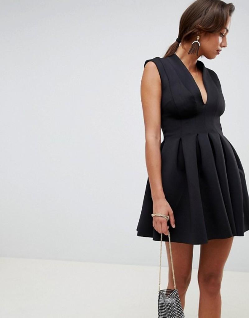 エイソス レディース ワンピース トップス ASOS DESIGN scuba seamed open back mini prom dress Black