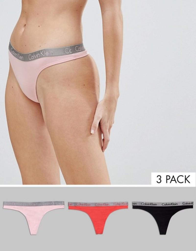 【初売り】 カルバンクライン レディース Multi パンツ Pack アンダーウェア Calvin Klein レディース Radiant Cotton 3 Pack Thong Multi, 岡部屋:ce3266a8 --- informesynoticiascordoba.com