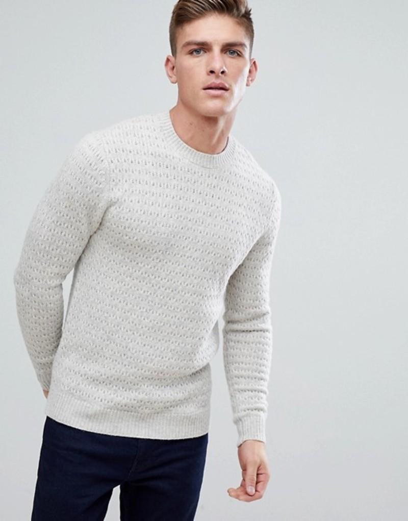 ジャック ウィルス メンズ ニット・セーター アウター Jack Wills Wheatfield Textured Stitch Crew Neck Sweater In Off White White
