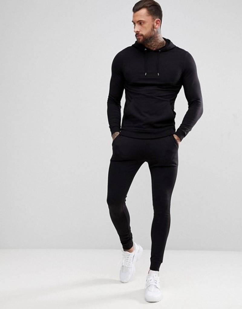エイソス メンズ パーカー・スウェット アウター ASOS DESIGN tracksuit muscle hoodie/extreme super skinny joggers in black Black