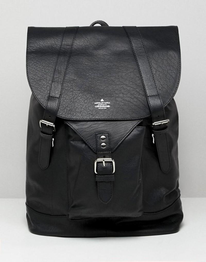 エイソス メンズ バックパック・リュックサック バッグ ASOS DESIGN leather backpack in black with front pocket detail Black