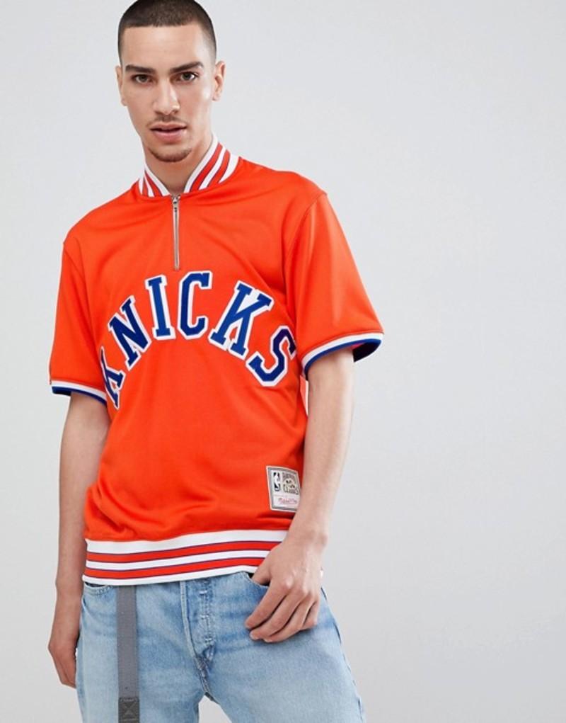 ミッチェル&ネス メンズ パーカー・スウェット アウター Mitchell & Ness NBA New York Knicks short sleeve sweatshirt with zip Orange