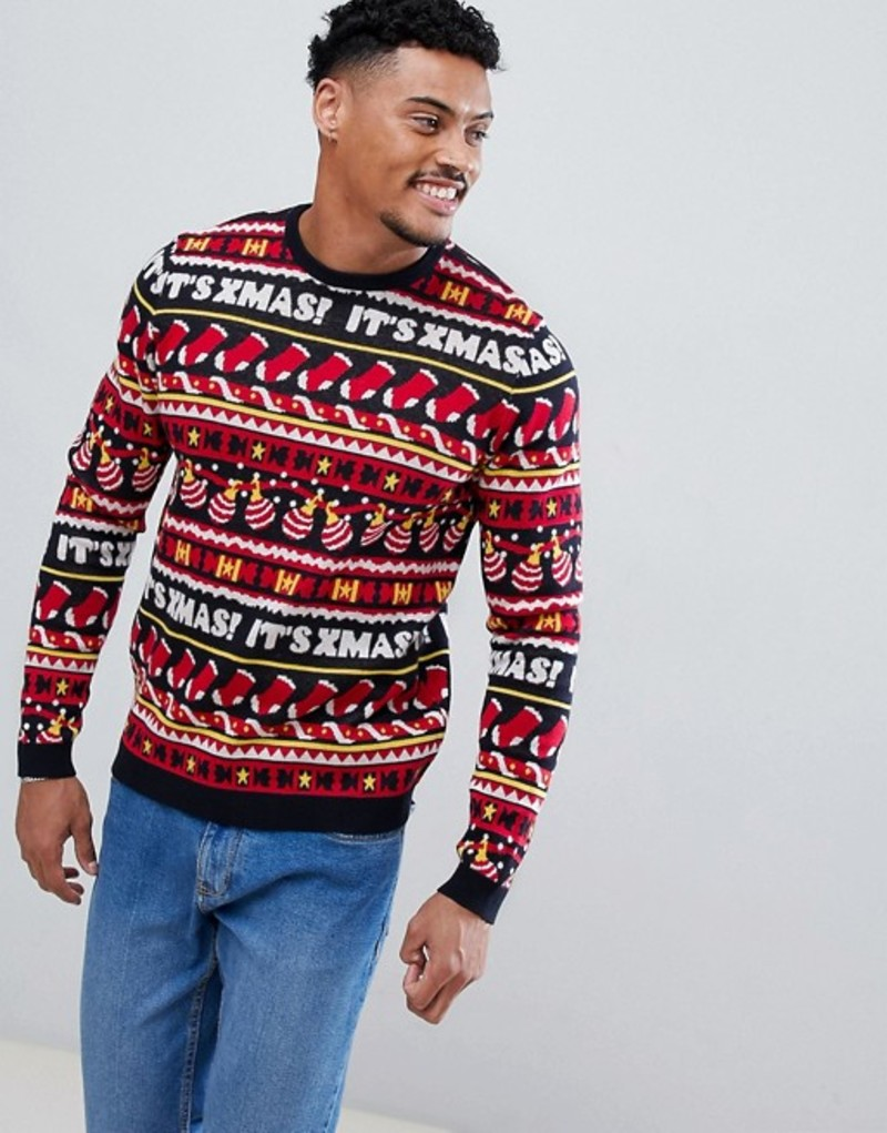エイソス メンズ ニット・セーター アウター ASOS DESIGN Holidays sweater with all over festive design in navy Multi