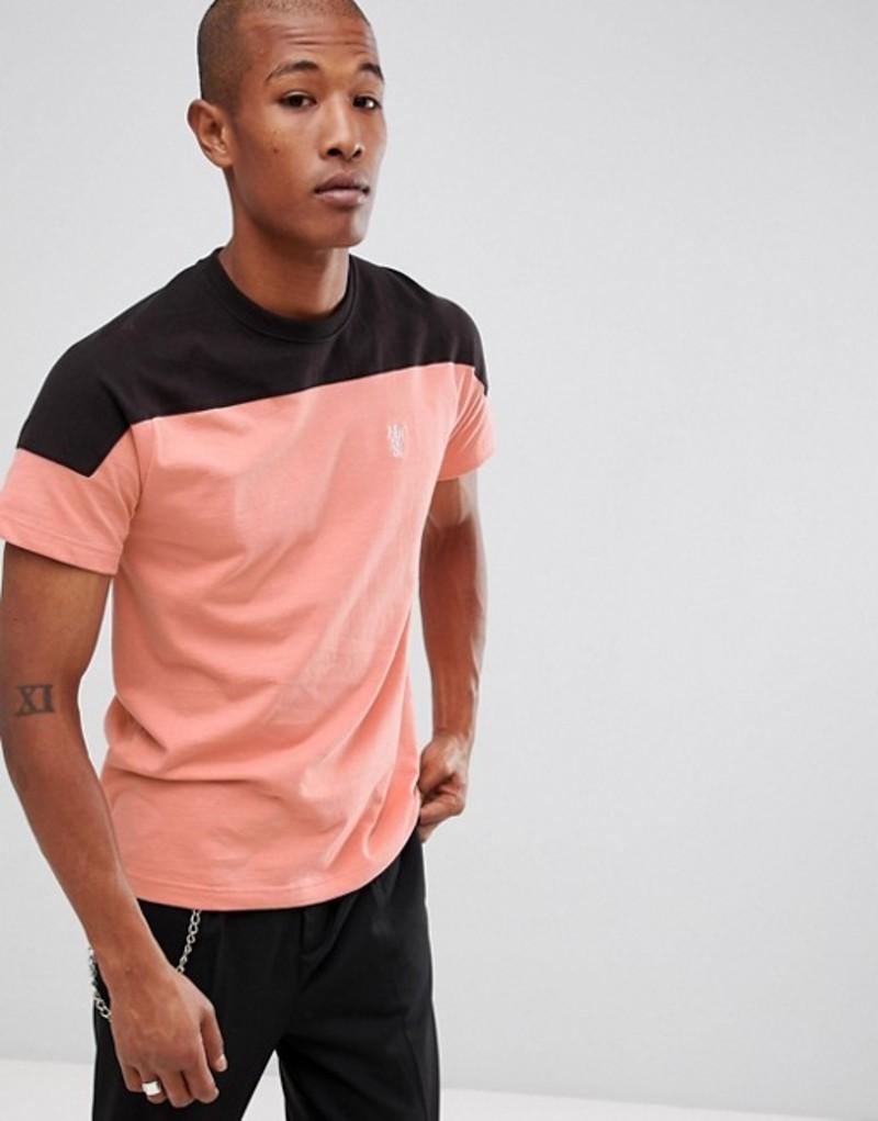 ハフ メンズ Tシャツ トップス HUF Camino t-shirt with contrast panel in coral Pink