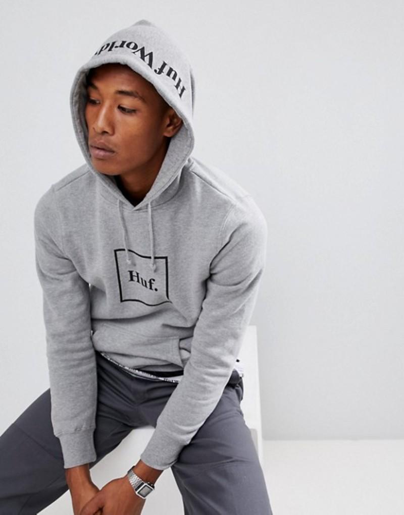 ハフ メンズ パーカー・スウェット アウター HUF Box Logo hoodie with hood print in gray Grey