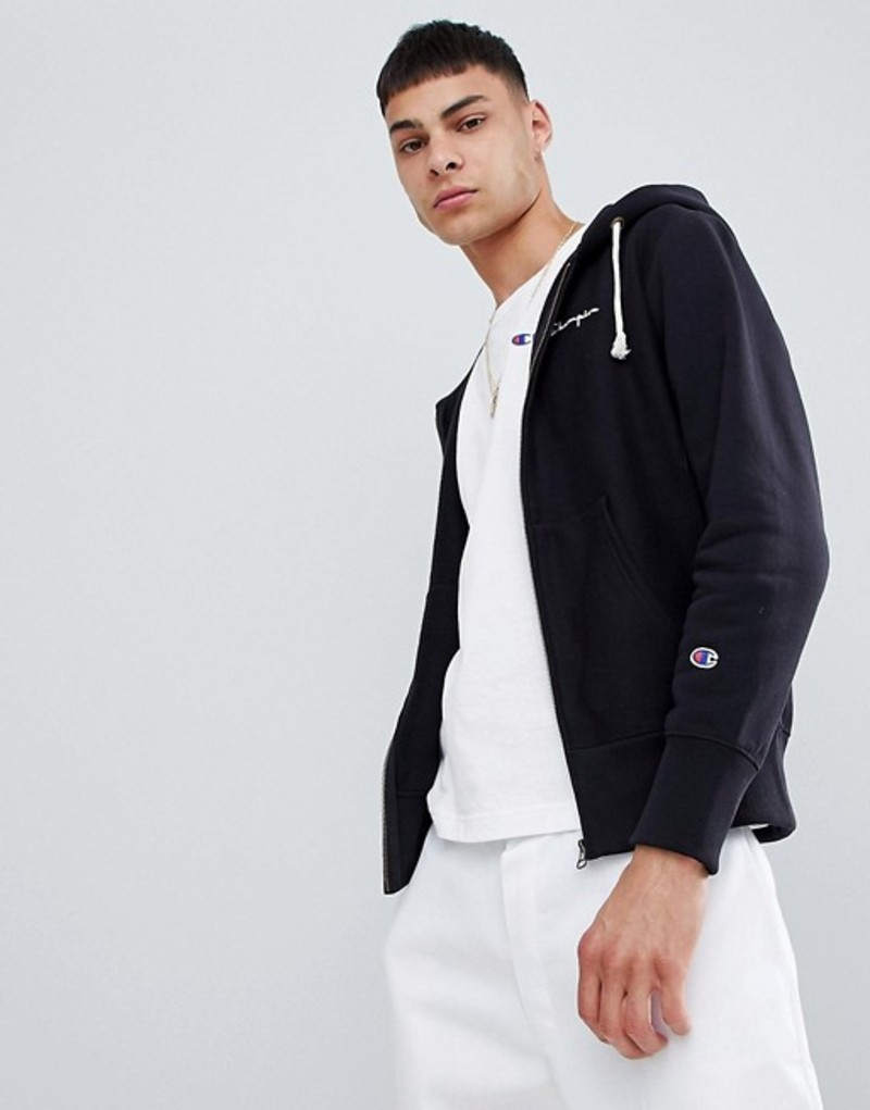 チャンピオン メンズ パーカー・スウェット アウター Champion zip through hoodie with hood logo in black Black