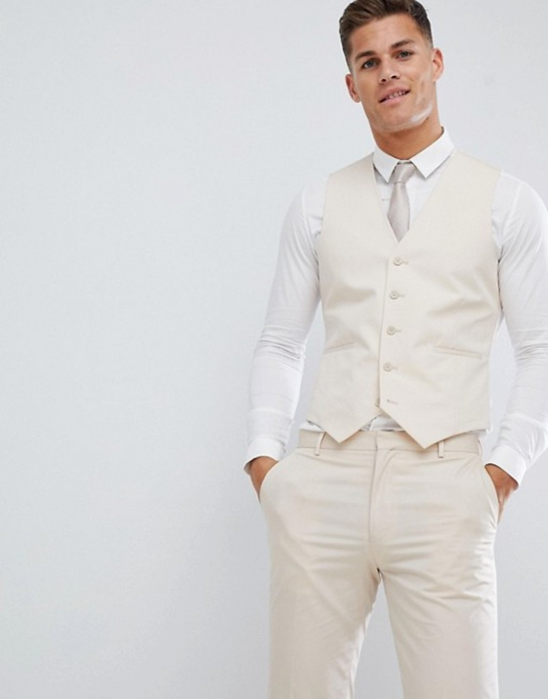 エイソス メンズ タンクトップ トップス ASOS DESIGN wedding skinny suit waistcoat in stretch cotton in stone Stone