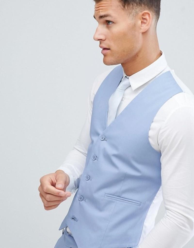 エイソス メンズ タンクトップ トップス ASOS DESIGN wedding skinny suit vest in stretch cotton in dusky blue Blue