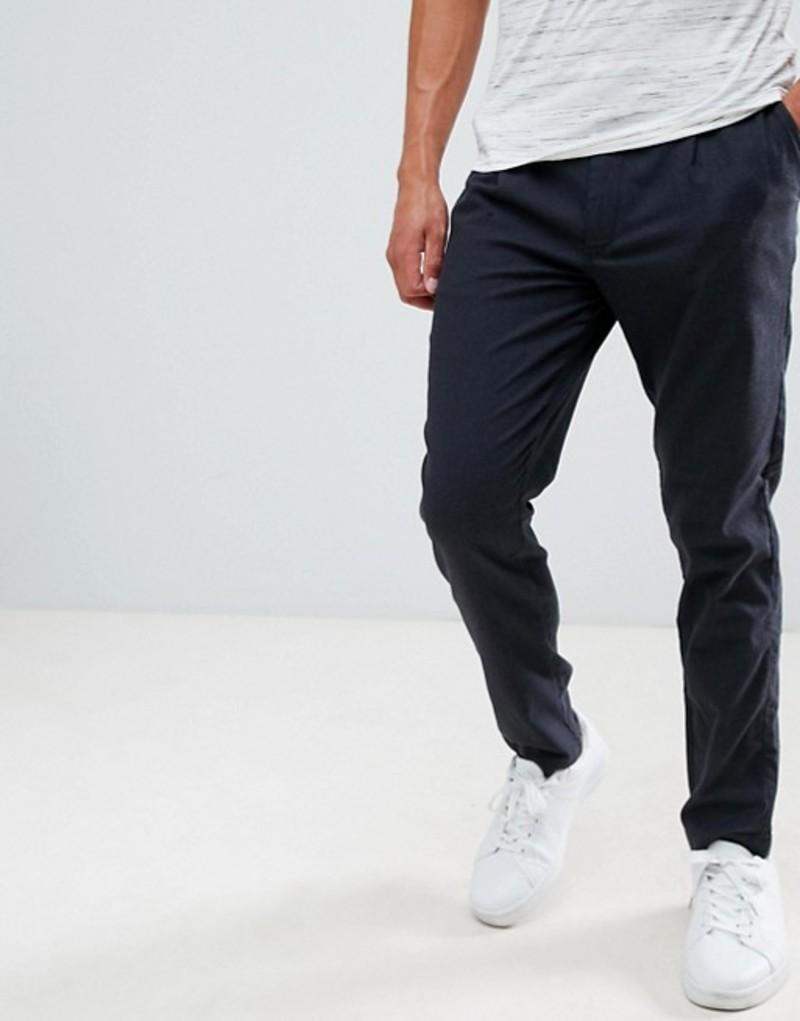 セレクテッドオム メンズ カジュアルパンツ ボトムス Selected Homme PANTS With Pleated Waistband In Tapered Fit Antracit