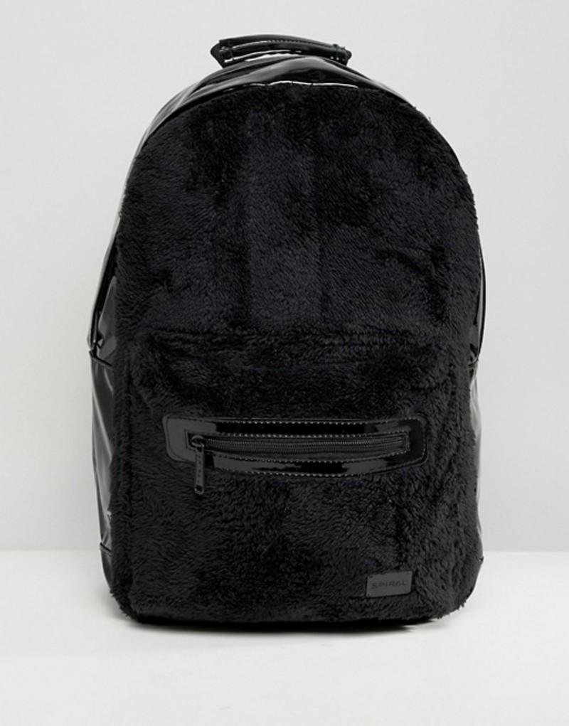スパイラル メンズ バックパック・リュックサック バッグ Spiral Rave Backpack in Faux Fur Black