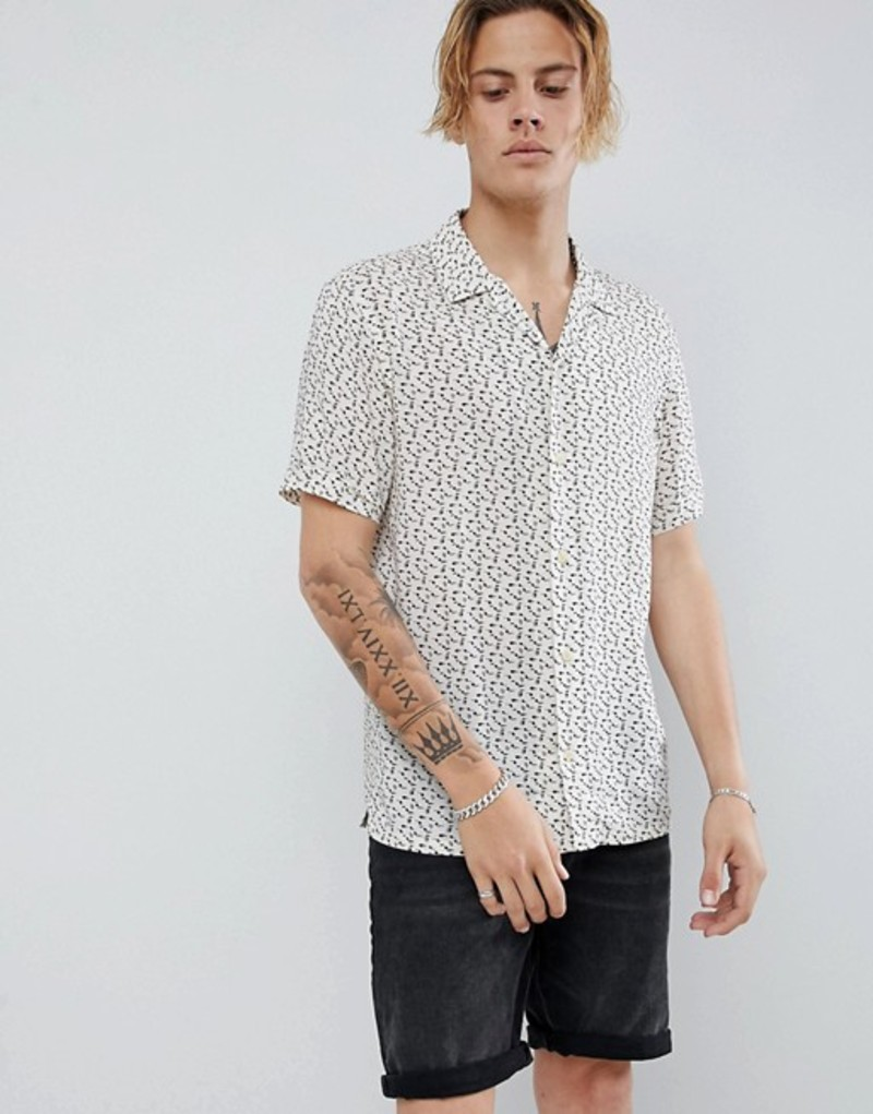 オールセインツ メンズ シャツ トップス AllSaints short sleeve revere shirt in ecru with note print Ecru white